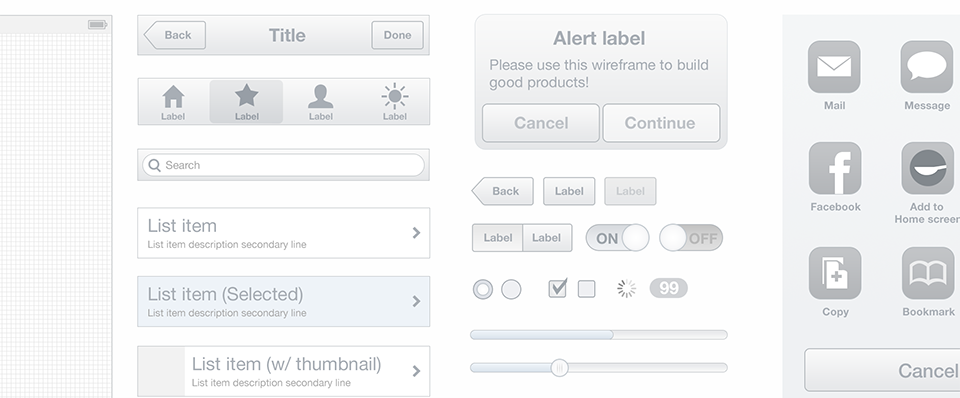 Spoon – A mobile wireframe UI kit