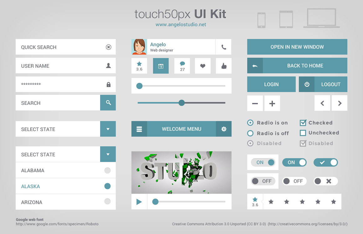 Touch 50px ui kit uicloud for Table design ui