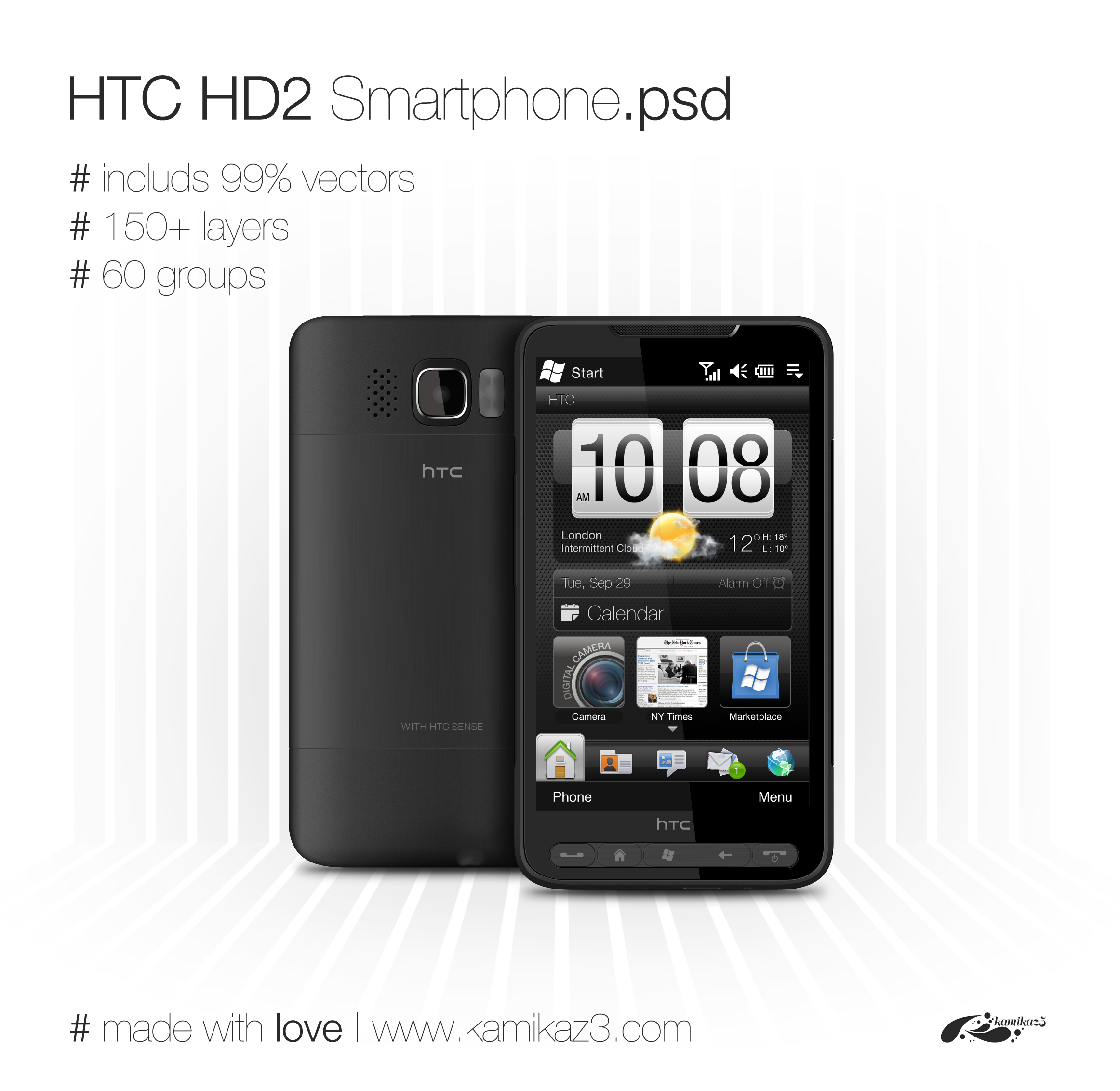 HTC HD2 Smartphone vector