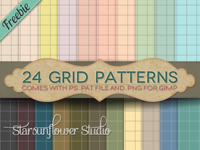 24 Grid Patterns for Photoshop & Gimp