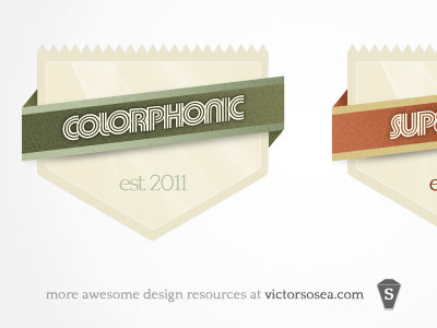 Badge with Ribbons Free PSD