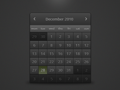 Black Calendar | UICloud