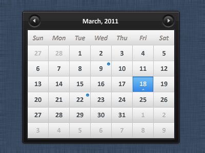 Sleek calendar