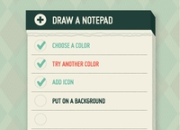 Stylised notepad / task list / check list UI