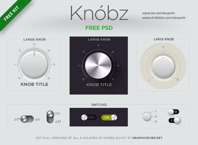 Knóbz Knobs UI Kit PSD