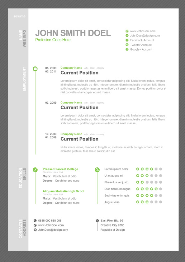 Cv resume free psd template uicloud cv resume free psd template yelopaper Image collections