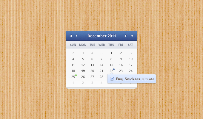 7 free calendar design interface PSD
