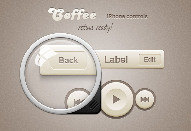 Coffee iPhone Retina App Controls