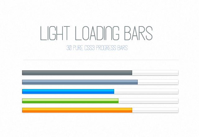 Light CSS3 Loading Progress Bars