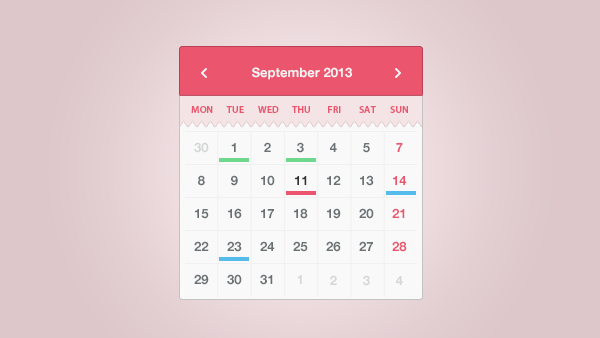 Calendar Templates Html Css : Simple sweet calendar widget uicloud