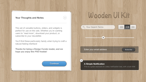 Wooden UI Kit