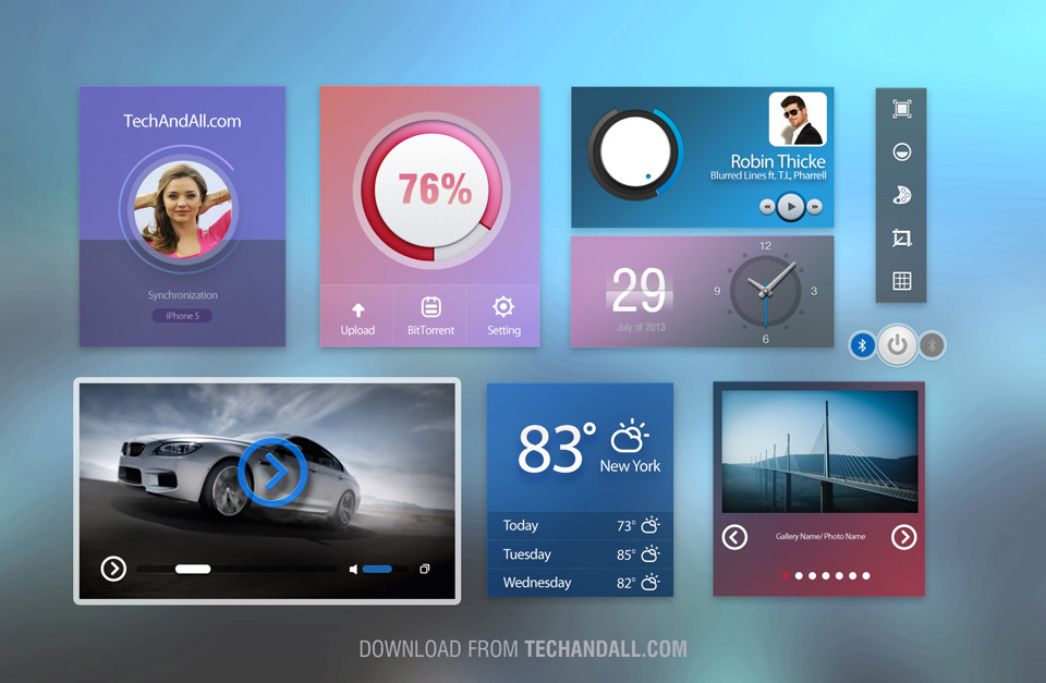 UI kit with Cold Colors