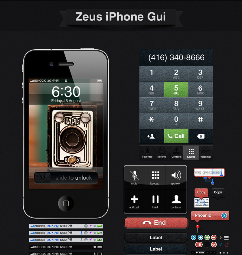 Zeus GUI: A Full Set Of Iphone GUI Elements